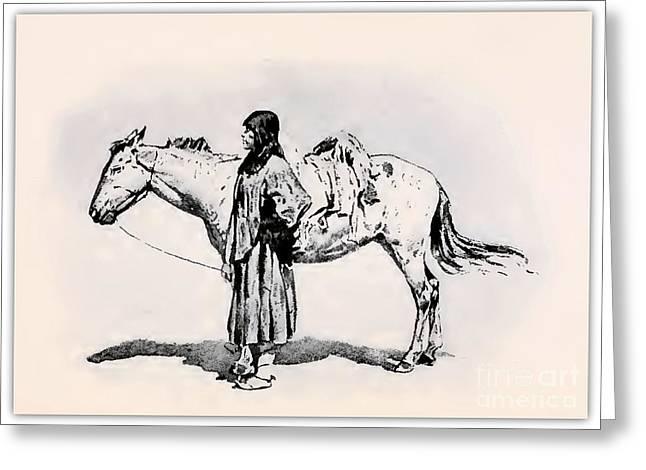 Remington Drawings Greeting Cards - Nastasale Apache Greeting Card by Remington