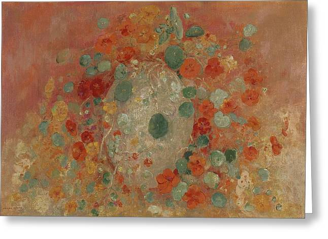 Flower Still Life Greeting Cards - Nasturtiums, 1905 Greeting Card by Odilon Redon