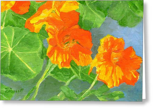 Nasturtiums Flowers Garden Small Oil Painting Greeting Card by K Joann Russell