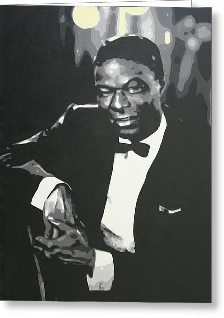 Cole Paintings Greeting Cards - Nat King Cole 2013 Greeting Card by Luis Ludzska