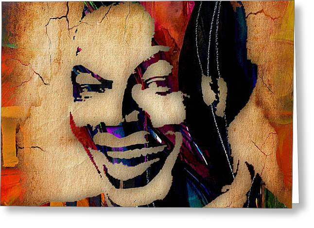 Pop Mixed Media Greeting Cards - Nat King Cole Collection Greeting Card by Marvin Blaine