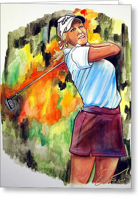 Lpga Greeting Cards - Natalie Gulbis Greeting Card by Dave Olsen