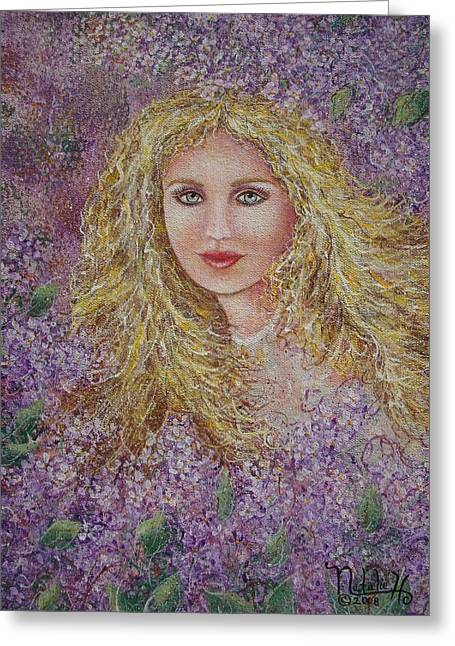 Flowing Blonde Hair Greeting Cards - Natalie In Lilacs Greeting Card by Natalie Holland