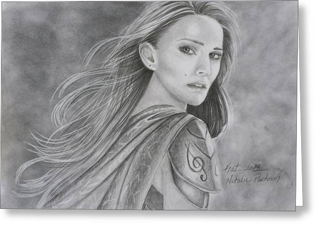 Thor Drawings Greeting Cards - Natalie Portman Greeting Card by Kat Ewing