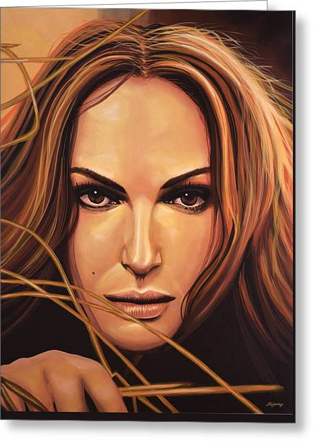 Realistic Greeting Cards - Natalie Portman Greeting Card by Paul Meijering