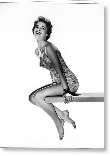 Swimsuit Photo Greeting Cards - Natalie Wood Swimsuit Portrait Greeting Card by Nomad Art And  Design