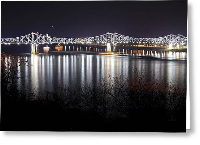 Natchez Bridge By Night Greeting Card by Aaris King