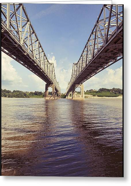 Natchez Bridges Crossing The Mississippi Greeting Card by Ray Devlin