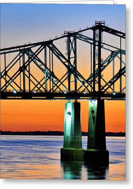 Natchez Sunset Greeting Card by R E Dub