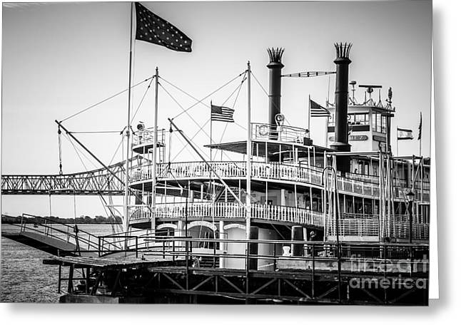 Paddle Wheel Greeting Cards - Natchez Steamboat in New Orleans Black and White Picture Greeting Card by Paul Velgos