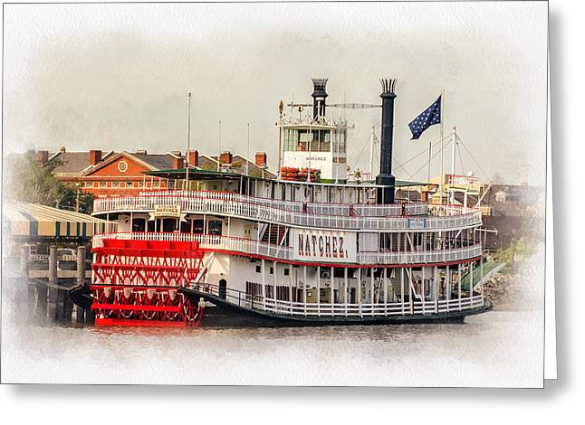 Steamboat Greeting Cards - Natchez Sternwheeler paint Greeting Card by Steve Harrington