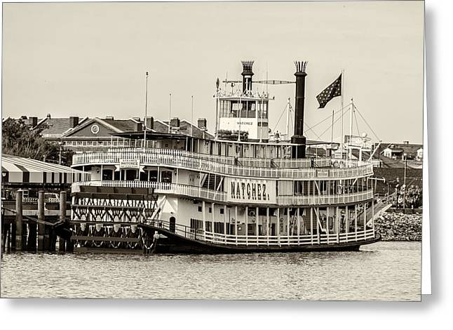 Steamboat Greeting Cards - Natchez Sternwheeler sepia Greeting Card by Steve Harrington