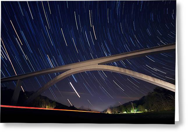 Natchez Trace Parkway Greeting Cards - Natchez Trace Bridge at Night Greeting Card by Malcolm MacGregor