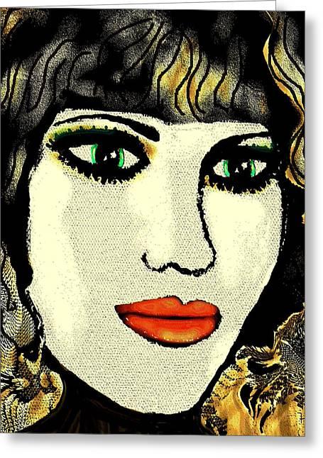 Eyebrow Mixed Media Greeting Cards - Nathalie Greeting Card by Natalie Holland
