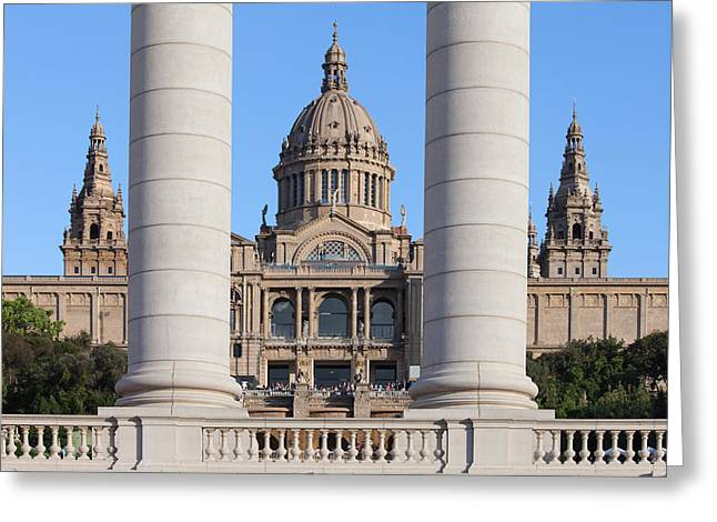 National Building Museum Greeting Cards - National Art Museum of Catalonia in Barcelona Greeting Card by Artur Bogacki