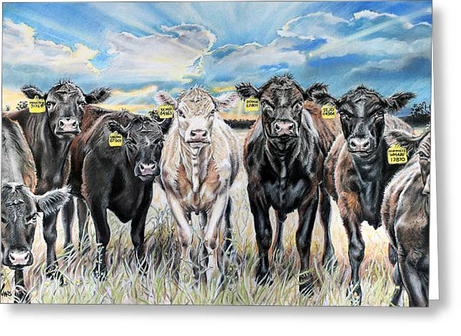 Sun Rays Pastels Greeting Cards - National Beef Greeting Card by Michelle Morris