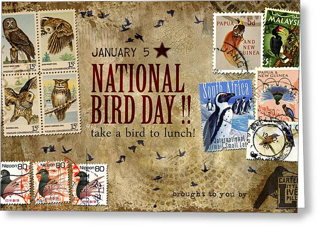 Postage Stamp Greeting Cards - National Bird Day Greeting Card by Carol Leigh