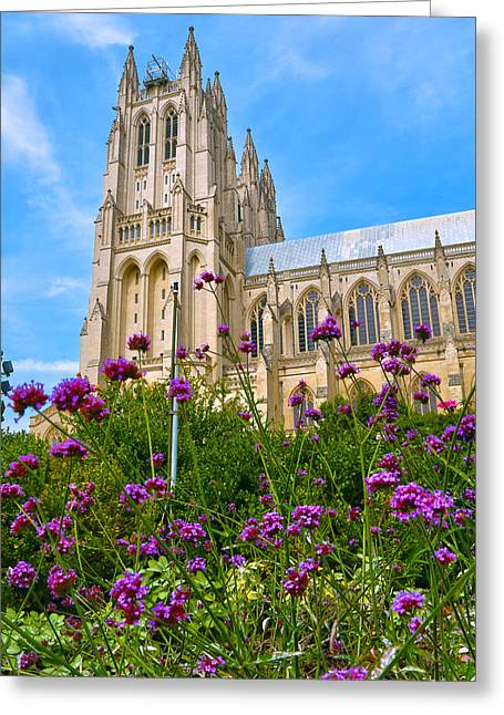 Neogothic Greeting Cards - National Cathedral Greeting Card by Mitch Cat