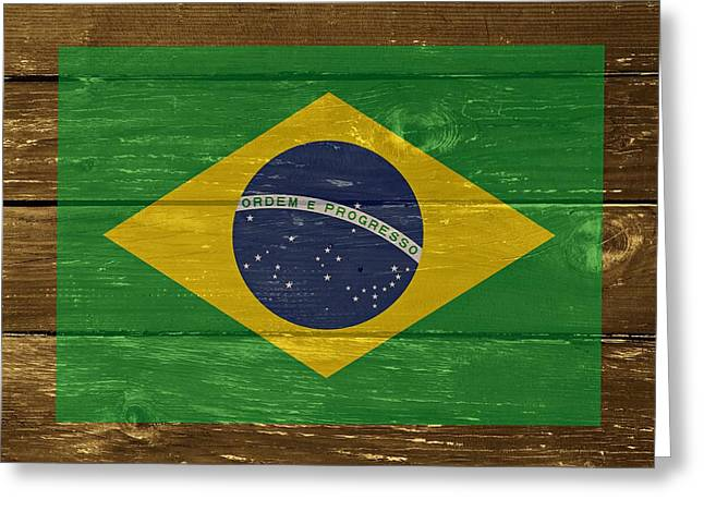 Cabin Wall Greeting Cards - Brazil National flag on Wood Greeting Card by Movie Poster Prints