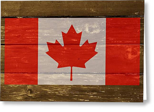 Cabin Wall Greeting Cards - Canada National Flag on Wood Greeting Card by Movie Poster Prints