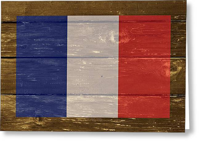 Cabin Wall Greeting Cards - France National flag on Wood Greeting Card by Movie Poster Prints