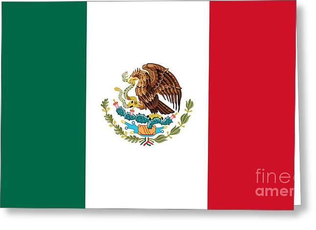 Snake Flag Greeting Cards - National flag of Mexico Authentic scale and color version Greeting Card by Bruce Stanfield