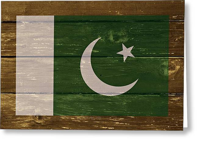 Dominion Greeting Cards - Pakistan National flag on Wood Greeting Card by Movie Poster Prints