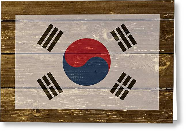 South Korea National Flag On Wood Greeting Card by Movie Poster Prints