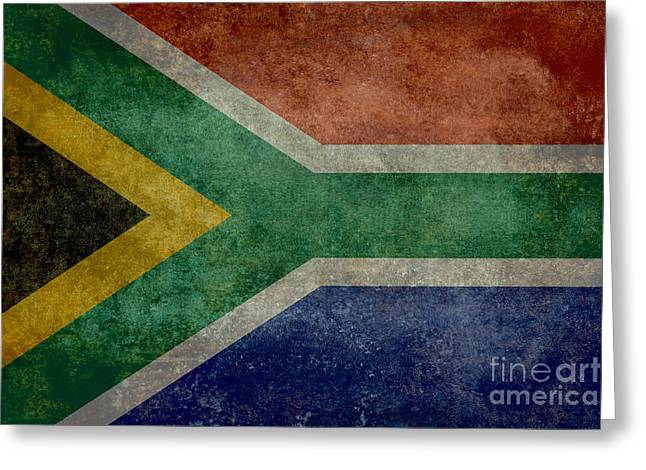 Johannesburg Greeting Cards - National flag of the Republic of South Africa Greeting Card by Bruce Stanfield