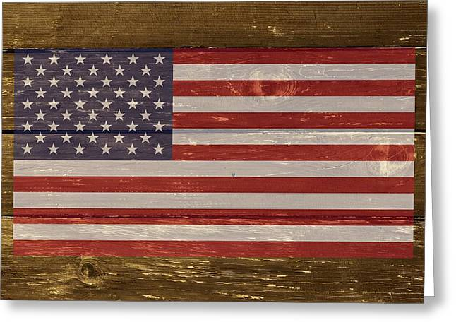 Cabin Wall Greeting Cards - United States of America National Flag on Wood Greeting Card by Movie Poster Prints