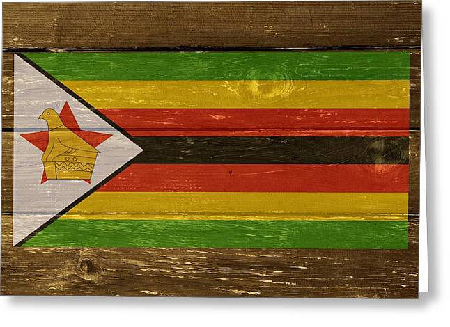 Black Lodge Greeting Cards - Zimbabwe National flag on Wood Greeting Card by Movie Poster Prints