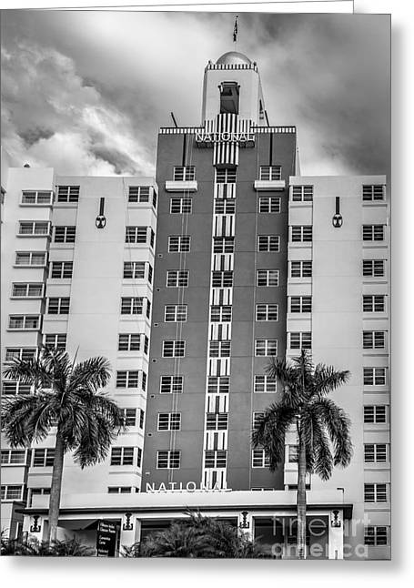 1930s Portraits Greeting Cards - National Hotel - South Beach - Miami - Florida - Black and White Greeting Card by Ian Monk