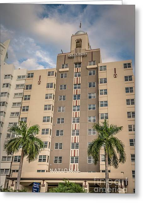 1930s Greeting Cards - National Hotel - South Beach - Miami - Florida - HDR Style Greeting Card by Ian Monk