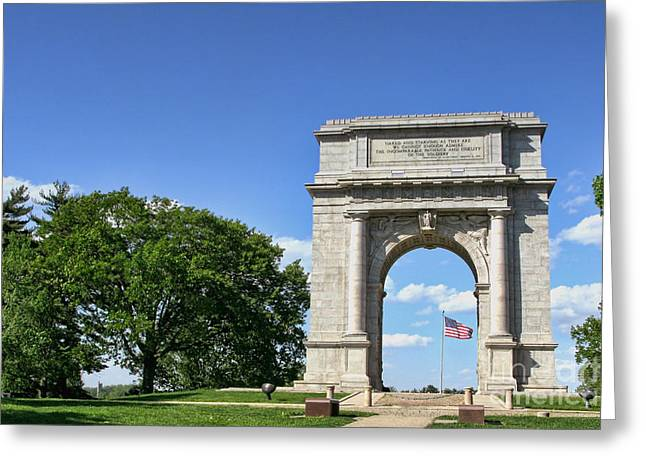 Historic Landmarks Greeting Cards - National Memorial Arch at Valley Forge Greeting Card by Olivier Le Queinec