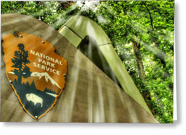 Gsmnp Greeting Cards - National Park Sign Greeting Card by Michael Eingle