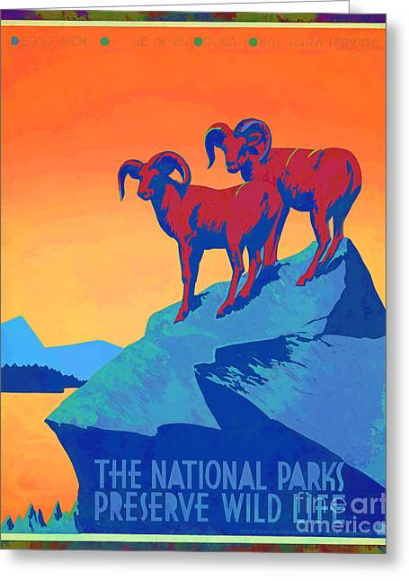 Wild Life Photographs Greeting Cards - National Parks Wild Life Poster Greeting Card by Vintage Poster