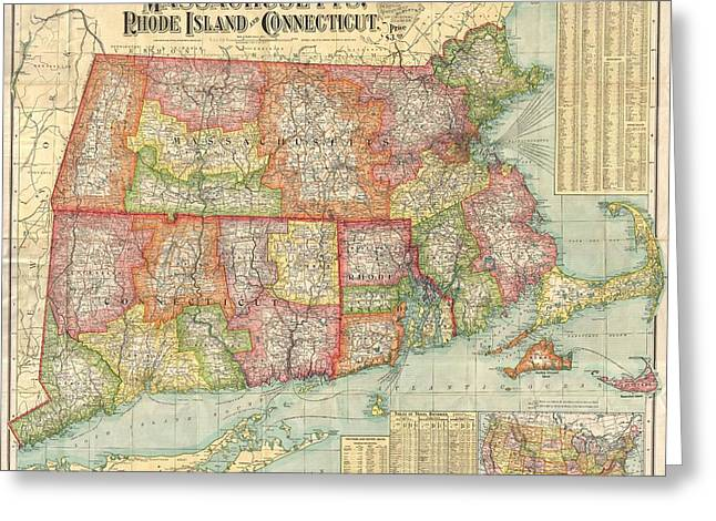 Rhode Island State Map Greeting Cards - National Publishing Railroad Map of Connecticut Massachusetts and Rhode Island Greeting Card by Nomad Art And  Design