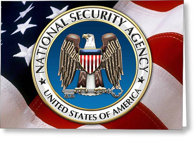 Patch Greeting Cards - National Security Agency - NSA Emblem Emblem over American Flag Greeting Card by Serge Averbukh