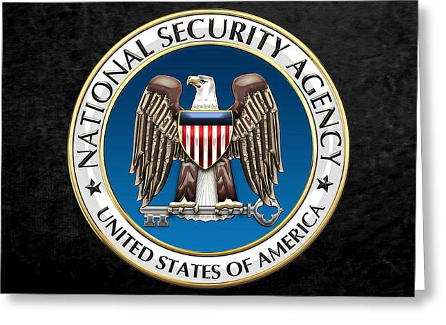 Patch Greeting Cards - National Security Agency - NSA Emblem on Black Velvet Greeting Card by Serge Averbukh