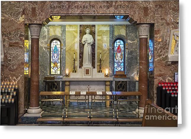 St Elizabeth Greeting Cards - National Shrine of Saint Elizabeth Ann Seton Greeting Card by John Greim