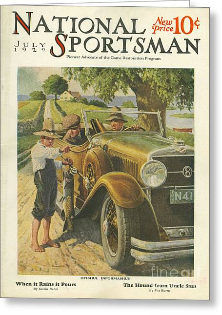 American Automobiles Greeting Cards - National Sportsman 1929 1920s Usa Cars Greeting Card by The Advertising Archives