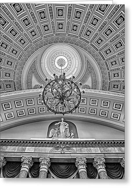 The Houses Greeting Cards - National Statuary Hall BW Greeting Card by Susan Candelario