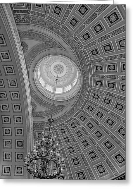 D.w Greeting Cards - National Statuary Rotunda BW Greeting Card by Susan Candelario