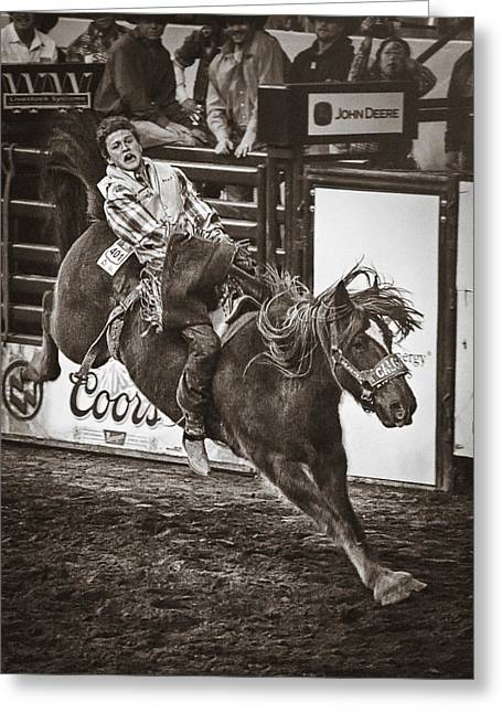 Espn Greeting Cards - National Stock Show Bareback Riding Greeting Card by Priscilla Burgers