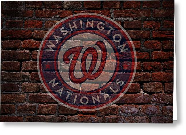 Centerfield Greeting Cards - Nationals Baseball Graffiti on Brick  Greeting Card by Movie Poster Prints