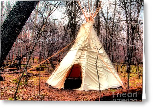 Native American Dwellings Greeting Cards - Native American Abode Greeting Card by Jimmy Ostgard