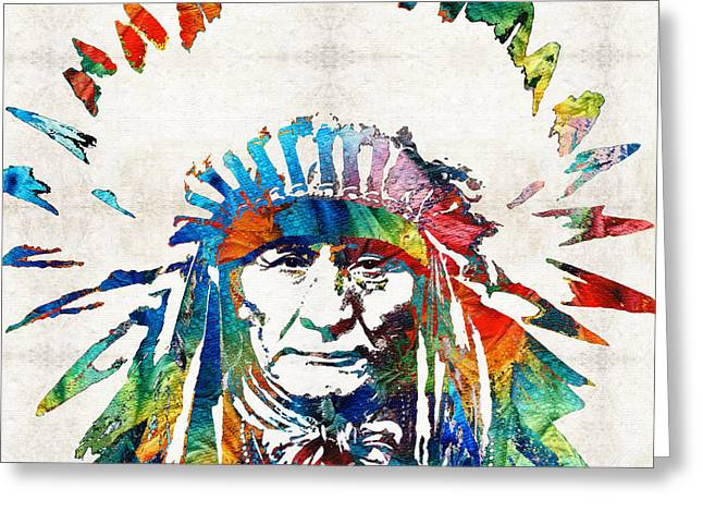 Chief Sitting Bull Greeting Cards - Native American Art - Chief - By Sharon Cummings Greeting Card by Sharon Cummings