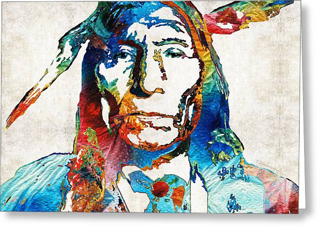 People Paintings Greeting Cards - Native American Art by Sharon Cummings Greeting Card by Sharon Cummings