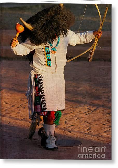 Jewelry Posters Greeting Cards - Native American Boy Buffalo Dance Greeting Card by Janice Rae Pariza