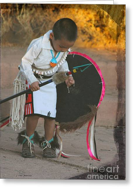 Jewelry Posters Greeting Cards - Native American Boy Celebration Dance Greeting Card by Janice Rae Pariza